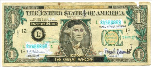 Devil Dollar 666 is money Mark of the beast
