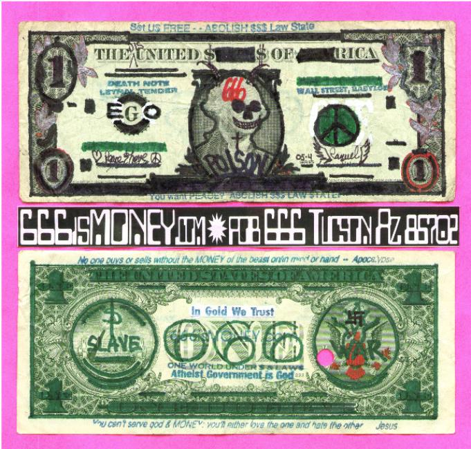 666isMONEY Mark of the beast Devil dollar