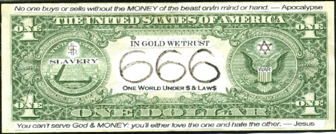 666isMONEY Mark of the beast 666 money dollar